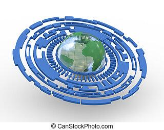 kreis, technologie, durchsichtiger globus, 3d