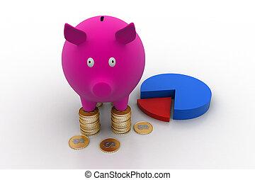 kreisdiagramm, bank, schweinchen
