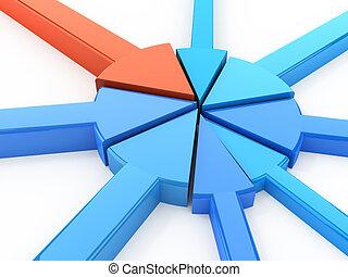 kreisdiagramm, begriff, freigestellt, weiß