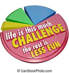 kreisdiagramm, leben, dieser, viel, herausforderung, rest, weniger, spaß