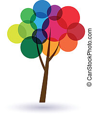 kreise, baum, mehrfarbig, image., glück, life., ikone, vektor, guten, begriff