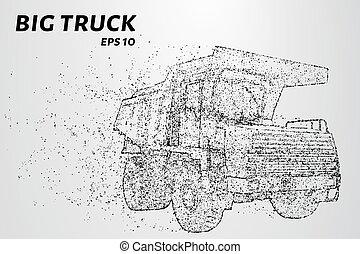 kreise, dots., groß, abbildung, particles., besteht, vektor, lastwagen, klein