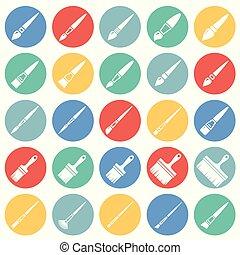 kreise, satz, farbe, modern, design, bürste, poppig, design, webikon, concept., einfache , internet, weißes, zeichen., website, symbol, hintergrund, grafik, beweglich, taste, app., vektor, oder