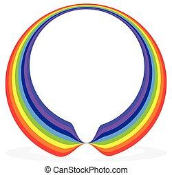 kreisförmig, regenbogen, form, (frame, umrandungen, element), mit, schatten