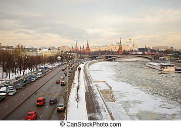 kreml, moskwa, zima, wschód słońca