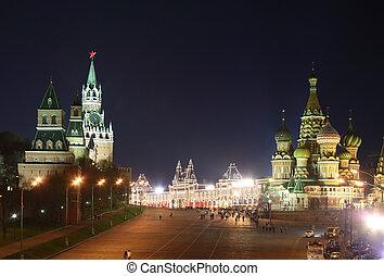 kreml, och, st.  basilika, domkyrka, om natten