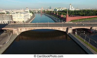 Kremlevskaya embankment - aerial view 4K - Bolshoy...