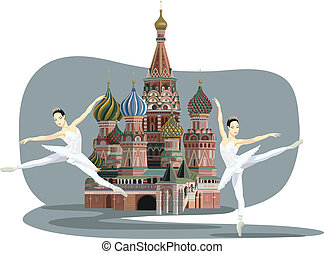 Kremlin and Ballerinas - Illustration of Saint Basil...