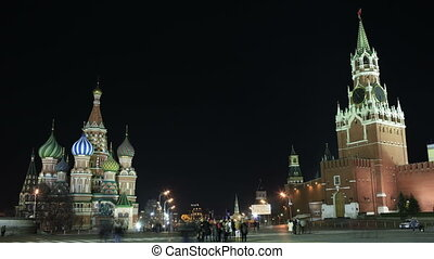 Kremlin and Basil's cathedral in Red Square in Moscow.