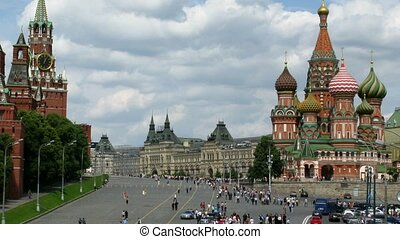 Kremlin and Cathedral of Vasily the Blessed on Red Square. Summer day. Time lapse.