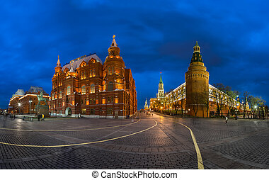 Kremlin and Historical Museum in the Evening, Moscow, Russia