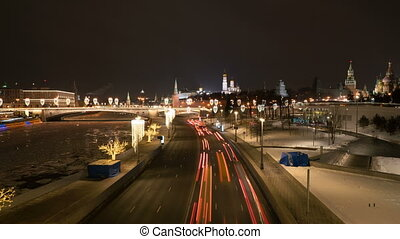 Kremlin and Red Square view at night from Soaring Bridge in...