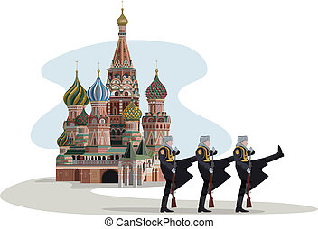 Kremlin and Russian Soldiers - Illustration of Saint Basil...