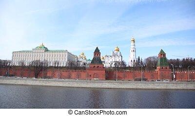 Kremlin churches stand near Kremlin wall, time lapse