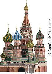 Kremlin - Illustration of Saint Basil Cathedral, isolated on...