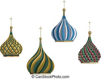 Kremlin Domes - Illustration of Kremlin domes, isolated on...