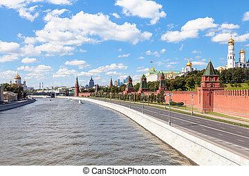 Kremlin embankment along Moskva Riverin Moscow