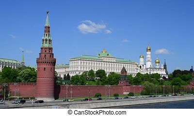 Kremlin embankment in spring in Moscow, Russia