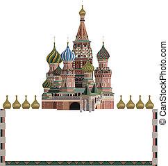 Kremlin - Ornamental frame illustration with Kremlin,...