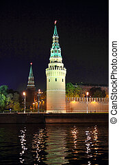 kremlin from river at night in Moscow