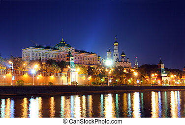 kremlin from river at night in Moscow - view on kremlin from...