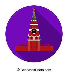Kremlin icon in flat style isolated on white background. Russian country symbol stock rastr illustration.