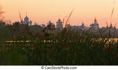 Kremlin in Rostov at sunrise, a view from Nero's lake