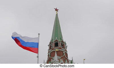 Kremlin Moscow Dome of Senate building Russian Flag tower.