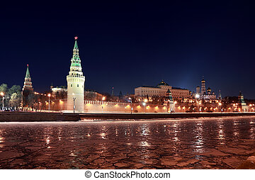 Kremlin near Red Square at winter in Moscow, Russia, rows of lanterns