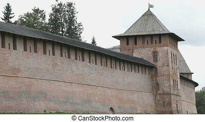Kremlin of Veliky Novgorod in summer, Russia - Old tower and...