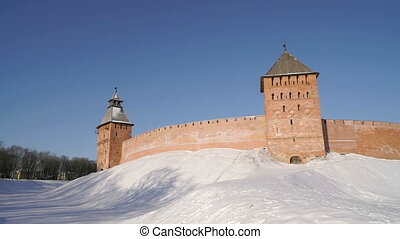 Kremlin of Veliky Novgorod in winter, Russia