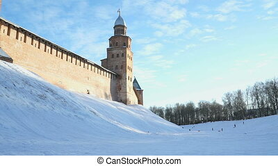Kremlin of Veliky Novgorod in winter, Russia