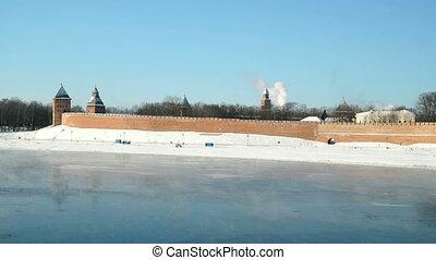 Kremlin of Veliky Novgorod in winter, Russia - Old towers...