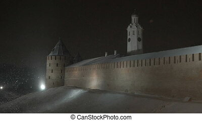Kremlin of Veliky Novgorod in winter, Russia - Old tower and...