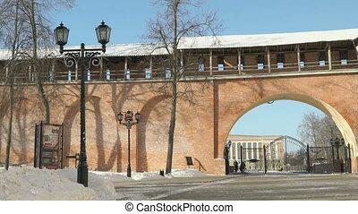 Kremlin of Veliky Novgorod in winter, Russia - The street...