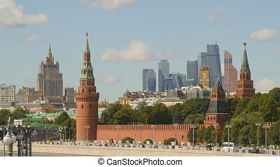 Kremlin on a background of the Moscow-City 2