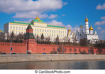 kremlin, palacio, y, iglesias