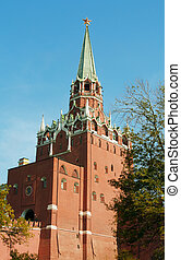 Kremlin, red square in Moscow - One of towers of red square...