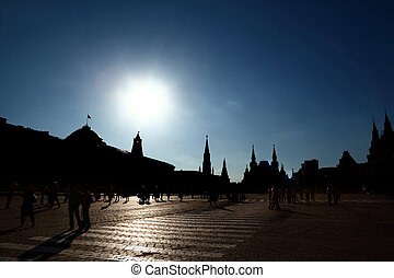 Kremlin Red Square in Moscow, Russian Federation. Tourist...