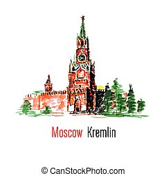 Kremlin, Red Square, Moscow, Russia. Watercolor vector...