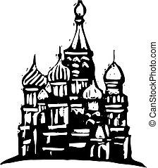 Black and White woodcut style illustration of the Kremlin in Moscow.