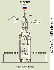 Kremlin, Spasskaya Tower in Moscow, Russia. Landmark icon in linear style