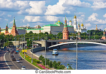 Kremlin - Famous Moscow Kremlin and Moskva river, Russia