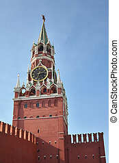 kremlin tower with clock moscow