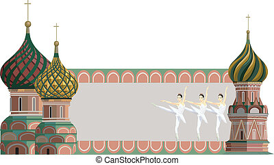 Frame illustration with Kremlin towers and ballerinas, isolated on white