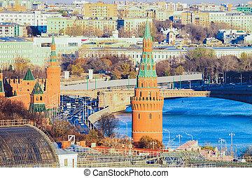 Kremlin Towers and Bolshoy Moskvoretsky Bridge with cityscape of Moscow