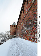 Kremlin wall and tower at Nizhny Novgorod in winter