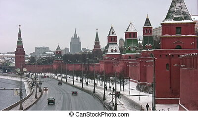 Kremlin wall and towers in Moscow