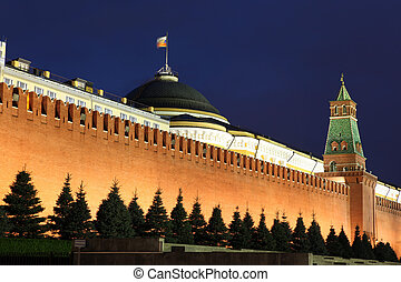 Kremlin wall, Senate and Senate tower in Red Square, Moscow, Russia