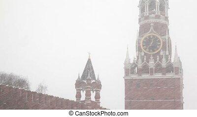 kremlin's, spasskaya, moscou, sous, tour, showfall